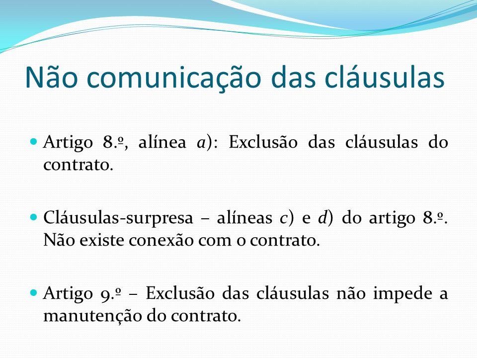 Não comunicação das cláusulas
