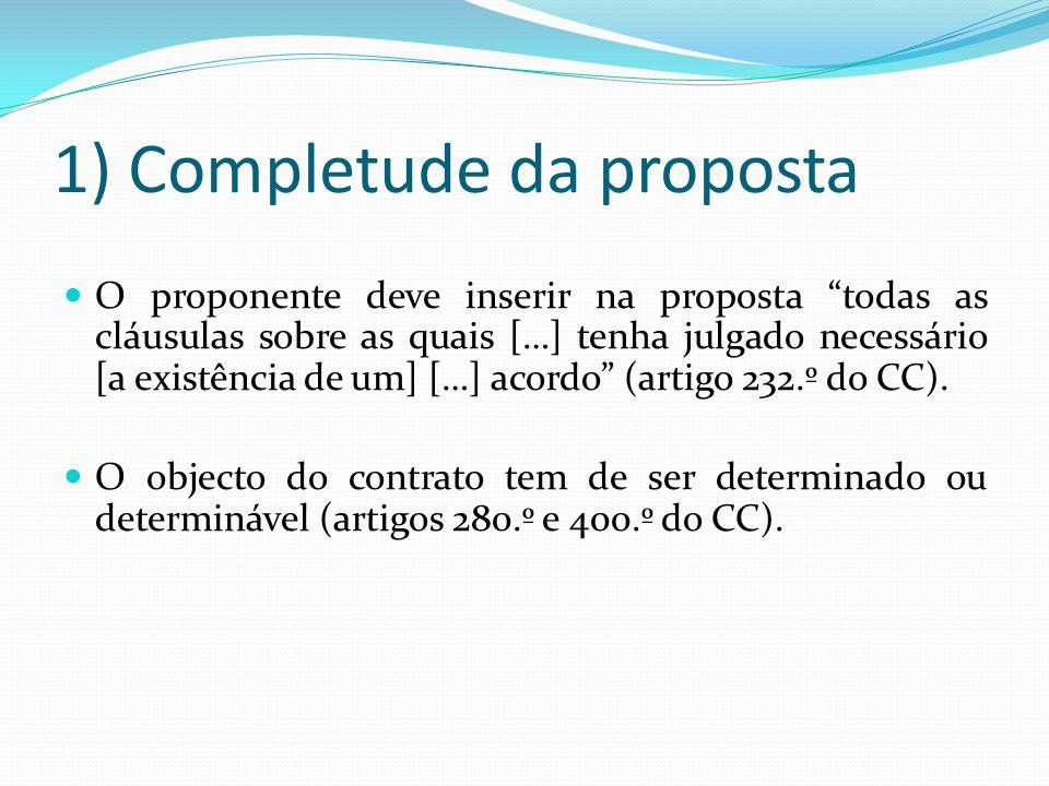 1) Completude da proposta