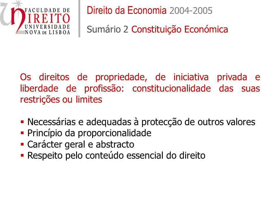 Direito da Economia 2004-2005 Sumário 2 Constituição Económica