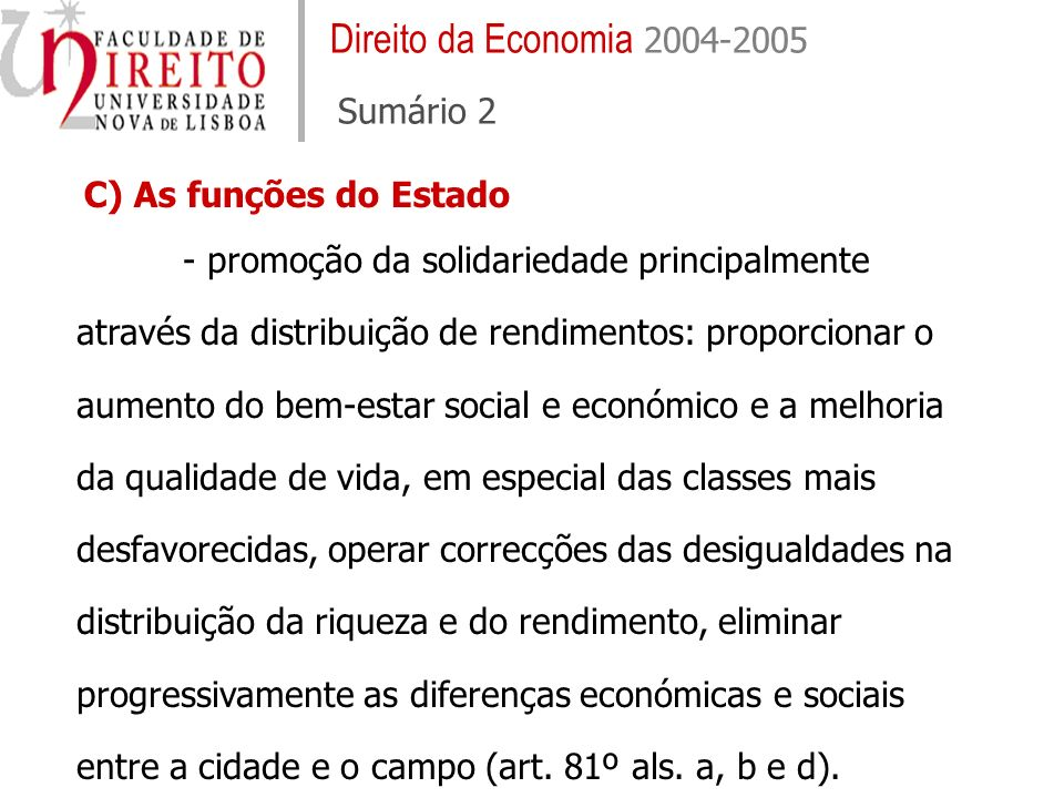 Direito da Economia 2004-2005 Sumário 2