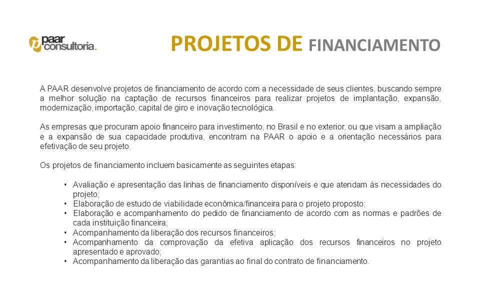 PROJETOS DE FINANCIAMENTO