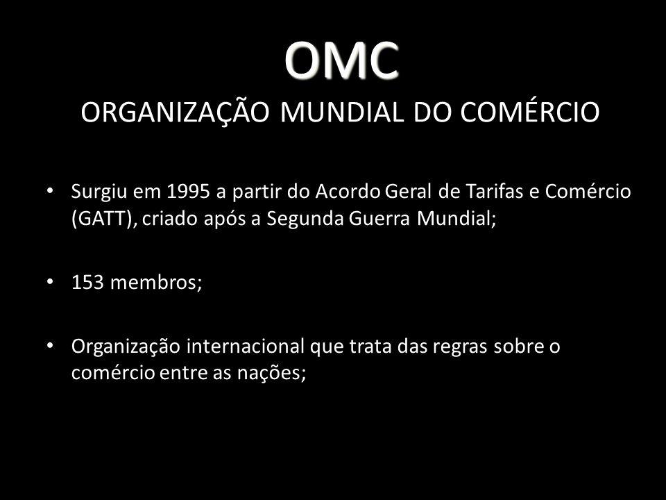 OMC ORGANIZAÇÃO MUNDIAL DO COMÉRCIO