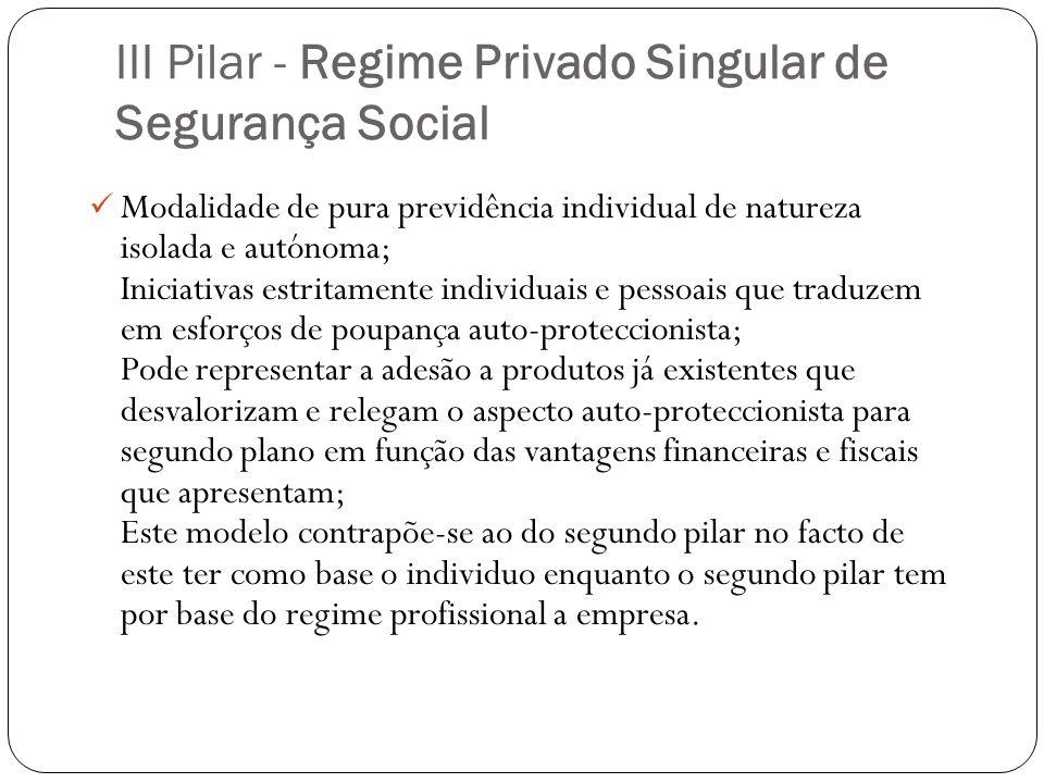 III Pilar - Regime Privado Singular de Segurança Social