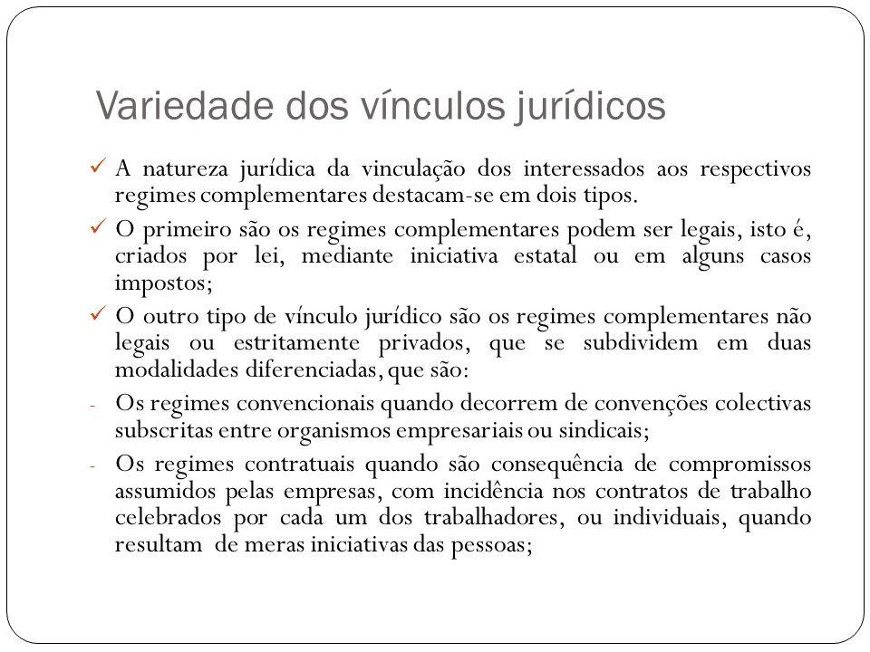 Variedade dos vínculos jurídicos