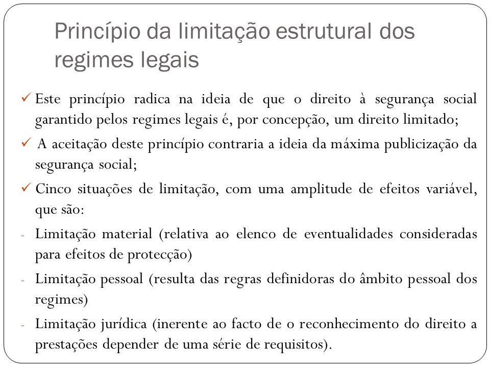 Princípio da limitação estrutural dos regimes legais
