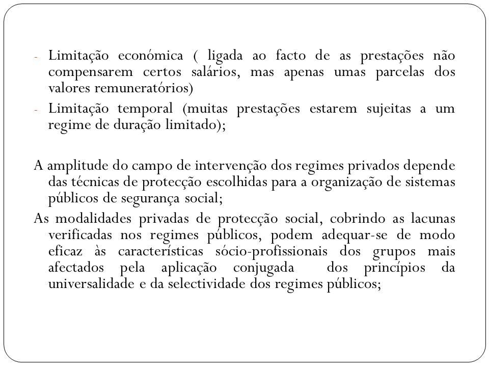 Limitação económica ( ligada ao facto de as prestações não compensarem certos salários, mas apenas umas parcelas dos valores remuneratórios)