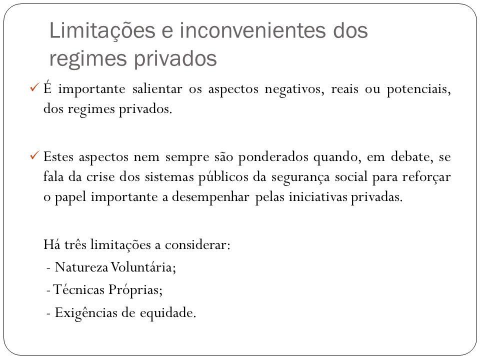 Limitações e inconvenientes dos regimes privados