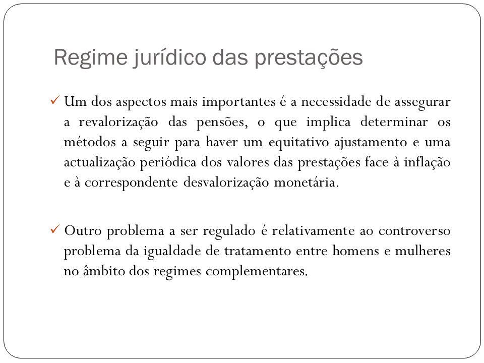Regime jurídico das prestações