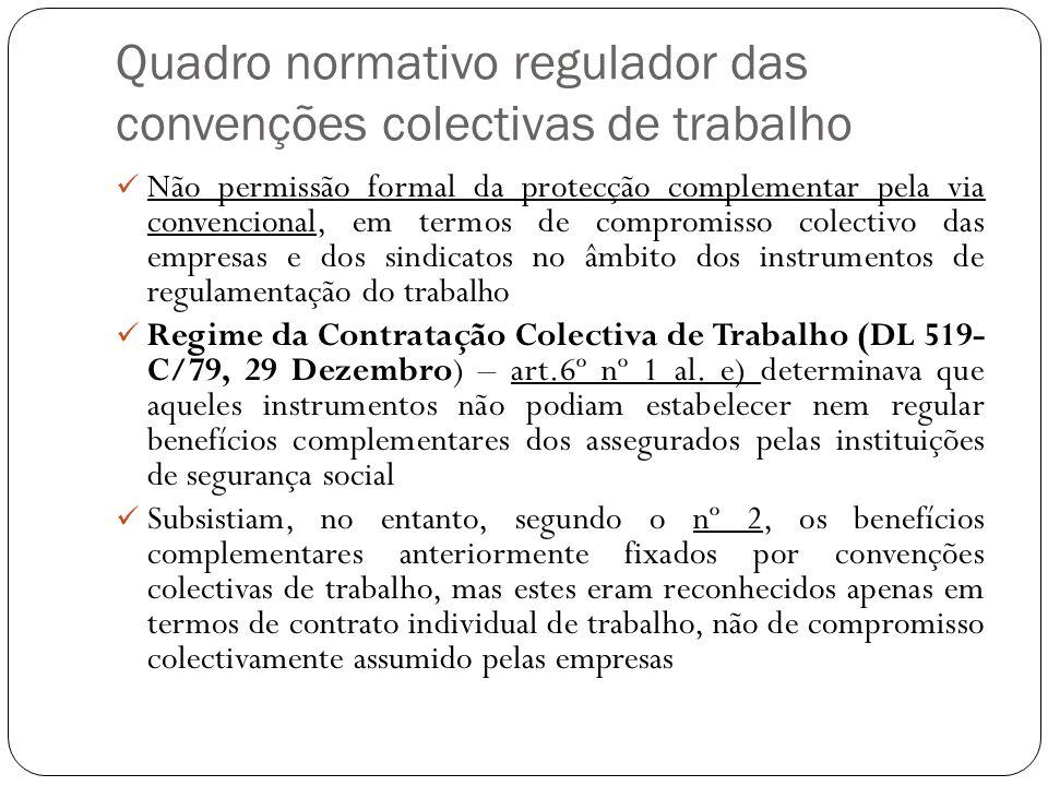 Quadro normativo regulador das convenções colectivas de trabalho