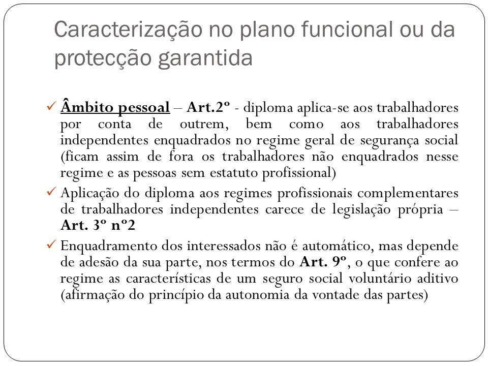 Caracterização no plano funcional ou da protecção garantida