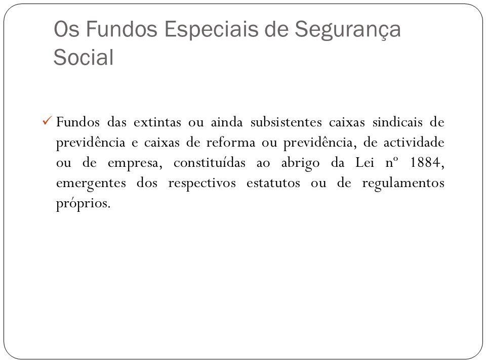 Os Fundos Especiais de Segurança Social