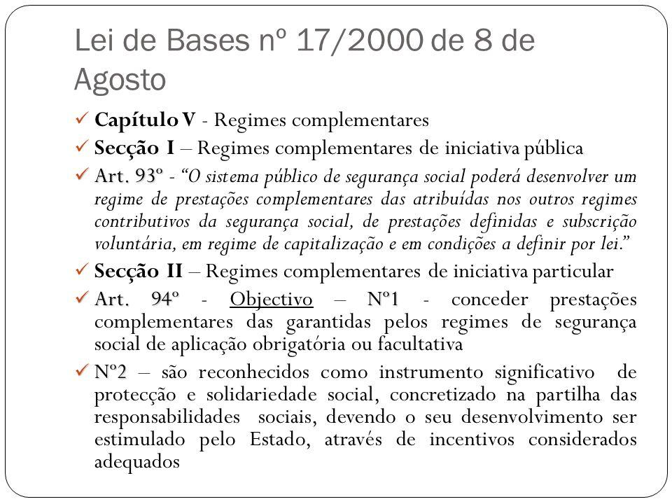 Lei de Bases nº 17/2000 de 8 de Agosto