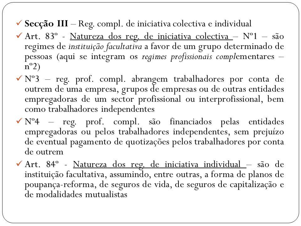 Secção III – Reg. compl. de iniciativa colectiva e individual