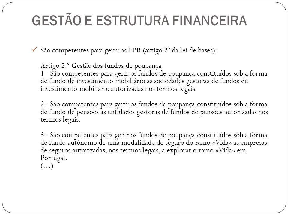 GESTÃO E ESTRUTURA FINANCEIRA
