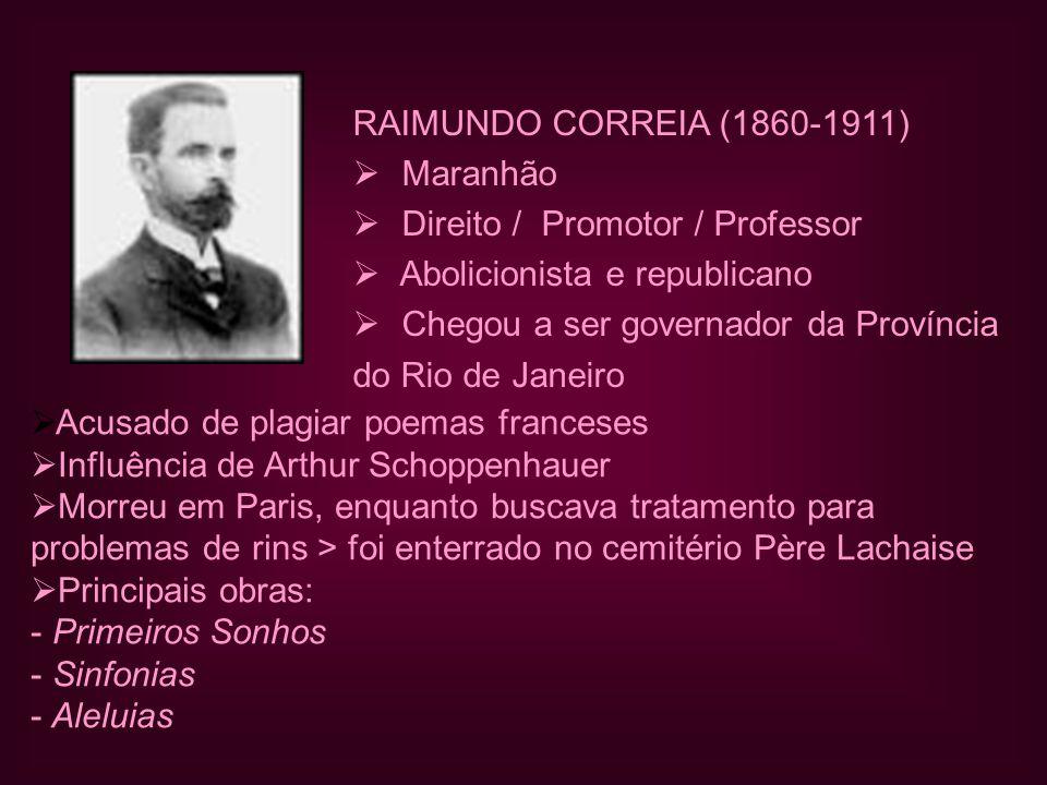 RAIMUNDO CORREIA (1860-1911) Maranhão. Direito / Promotor / Professor. Abolicionista e republicano.