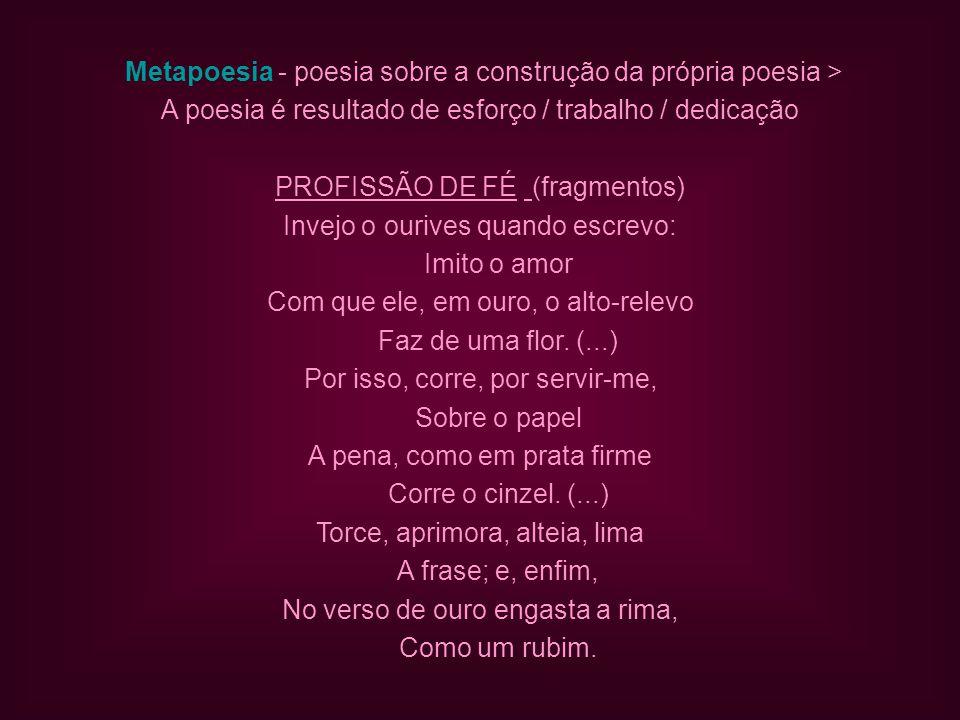 Metapoesia - poesia sobre a construção da própria poesia >