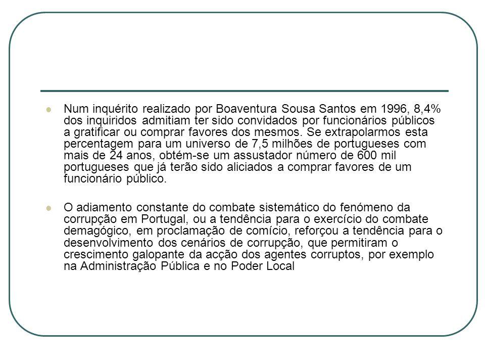 Num inquérito realizado por Boaventura Sousa Santos em 1996, 8,4% dos inquiridos admitiam ter sido convidados por funcionários públicos a gratificar ou comprar favores dos mesmos. Se extrapolarmos esta percentagem para um universo de 7,5 milhões de portugueses com mais de 24 anos, obtém-se um assustador número de 600 mil portugueses que já terão sido aliciados a comprar favores de um funcionário público.