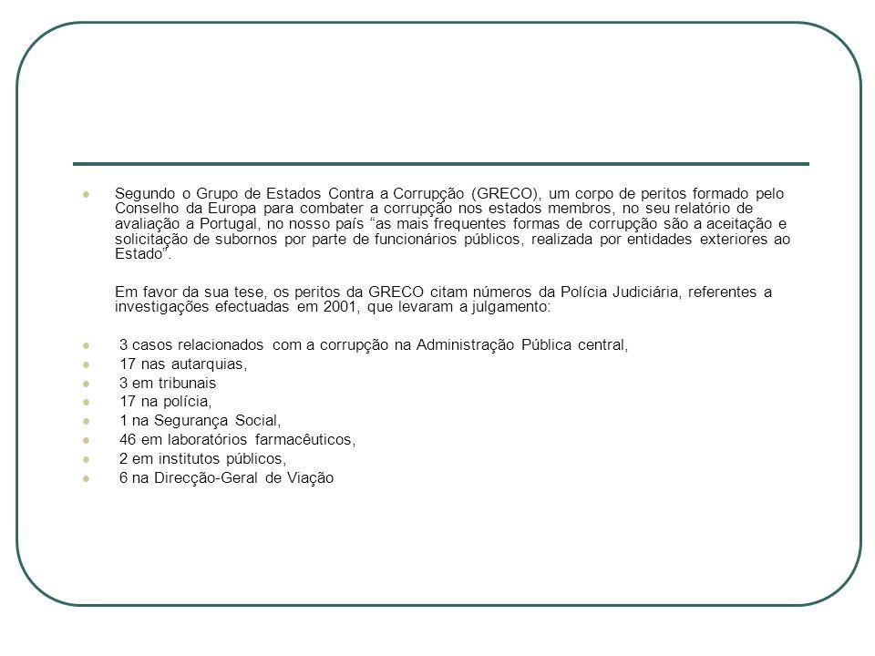Segundo o Grupo de Estados Contra a Corrupção (GRECO), um corpo de peritos formado pelo Conselho da Europa para combater a corrupção nos estados membros, no seu relatório de avaliação a Portugal, no nosso país as mais frequentes formas de corrupção são a aceitação e solicitação de subornos por parte de funcionários públicos, realizada por entidades exteriores ao Estado .