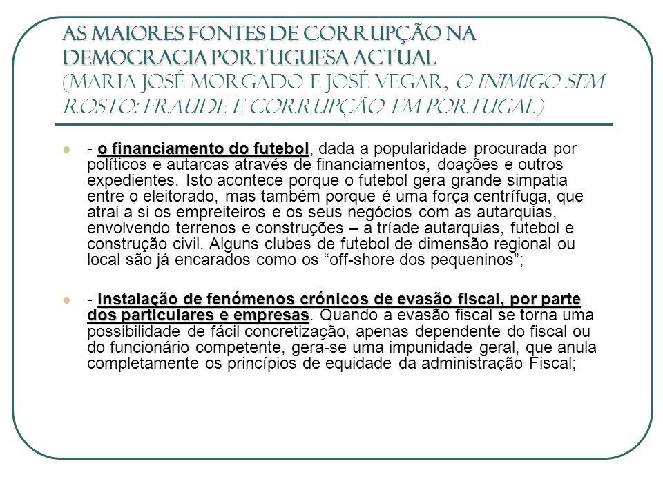 As maiores fontes de corrupção na democracia portuguesa actual (Maria José Morgado e José Vegar, O Inimigo sem Rosto: fraude e corrupção em Portugal)