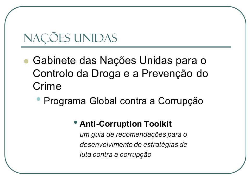 Nações Unidas Gabinete das Nações Unidas para o Controlo da Droga e a Prevenção do Crime. Programa Global contra a Corrupção.