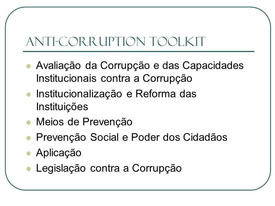 ANTI-CORRUPTION TOOLKIT
