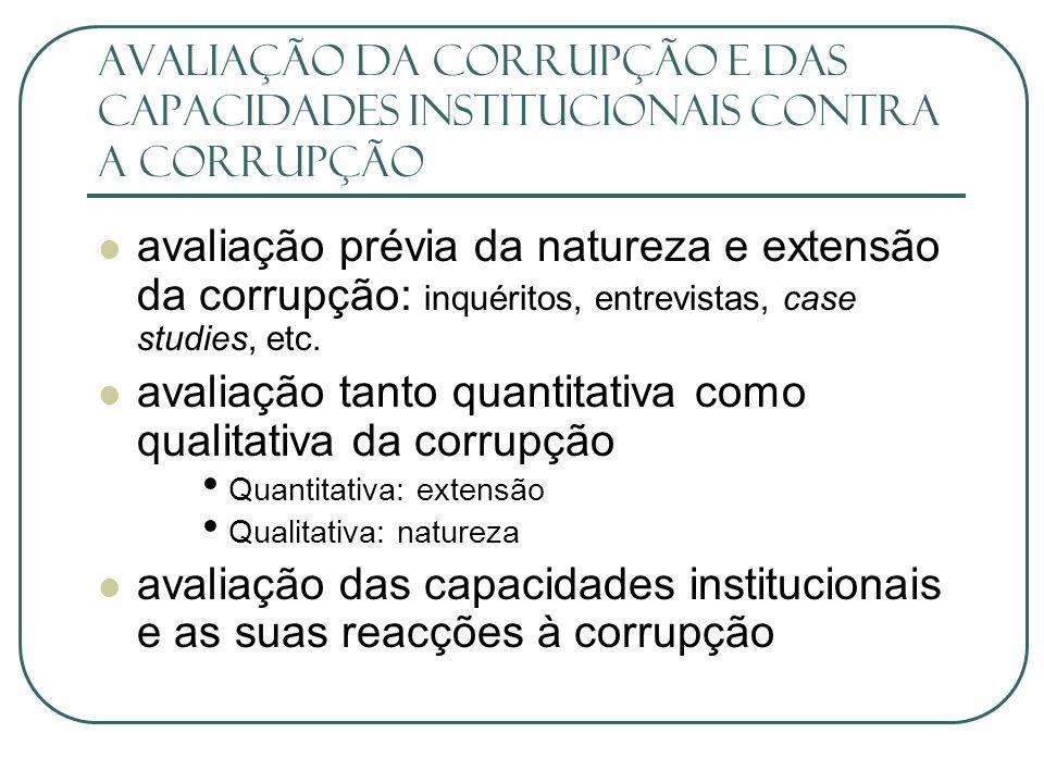 avaliação tanto quantitativa como qualitativa da corrupção