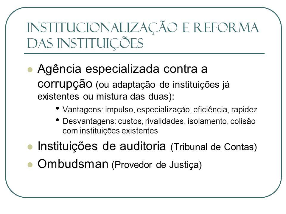 Institucionalização e Reforma das Instituições