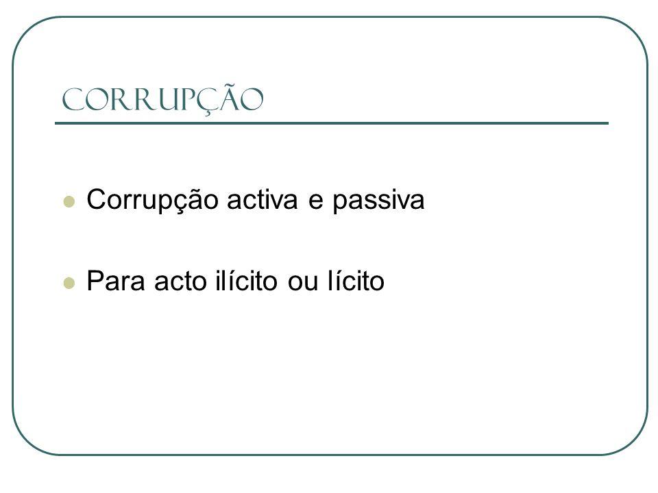 Corrupção Corrupção activa e passiva Para acto ilícito ou lícito