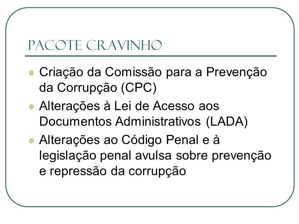 Pacote Cravinho Criação da Comissão para a Prevenção da Corrupção (CPC) Alterações à Lei de Acesso aos Documentos Administrativos (LADA)