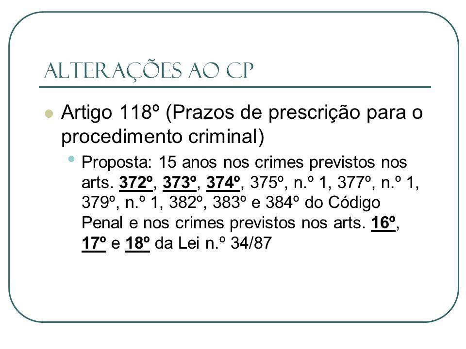 Alterações ao CP Artigo 118º (Prazos de prescrição para o procedimento criminal)