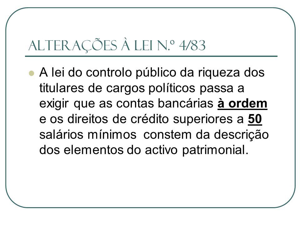 Alterações à lei n.º 4/83