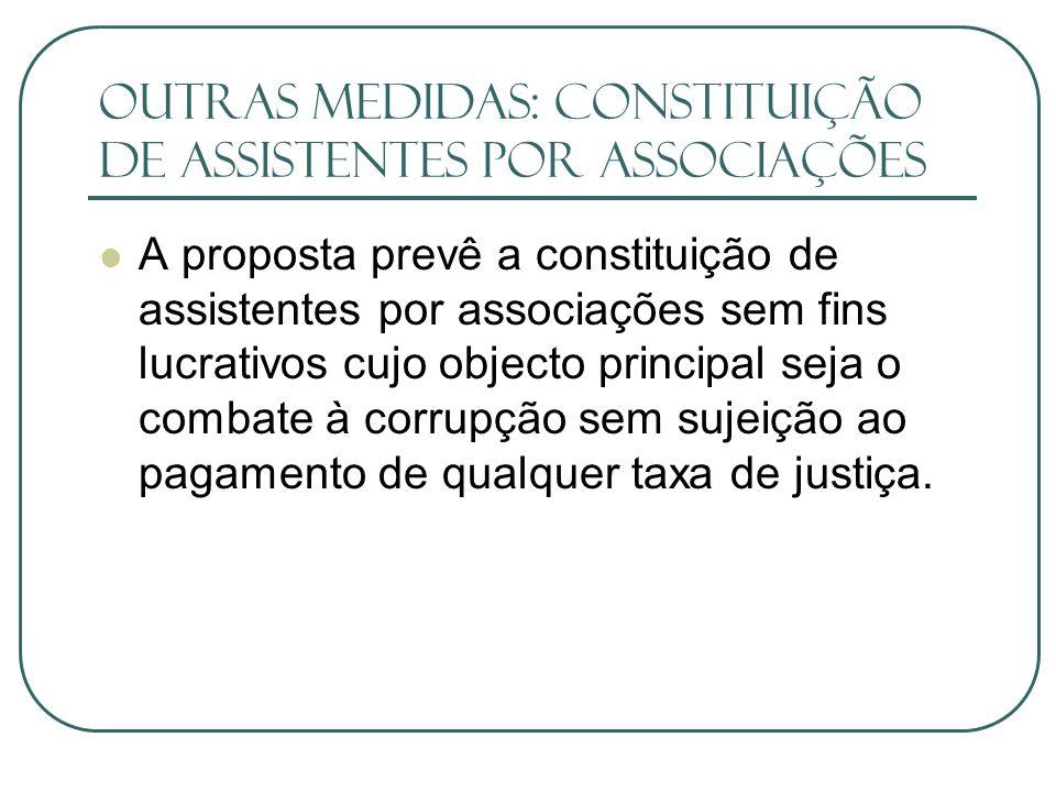 outras medidas: Constituição de assistentes por associações