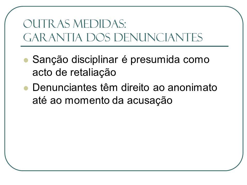 outras medidas: Garantia dos denunciantes