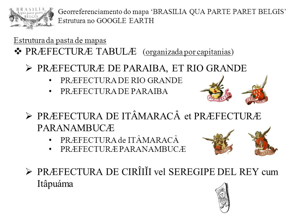 PRÆFECTURÆ TABULÆ (organizada por capitanias)