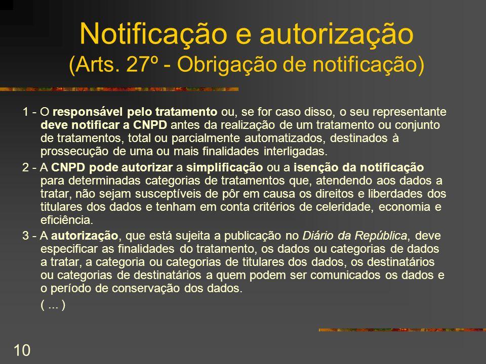 Notificação e autorização (Arts. 27º - Obrigação de notificação)