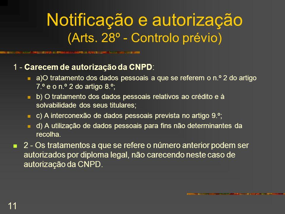 Notificação e autorização (Arts. 28º - Controlo prévio)