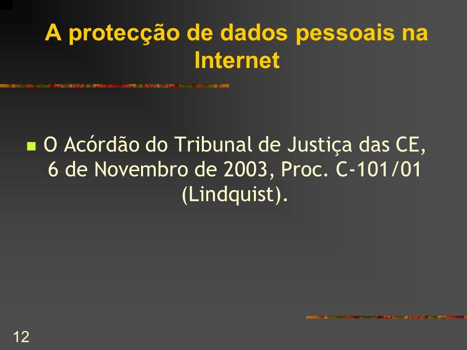 A protecção de dados pessoais na Internet