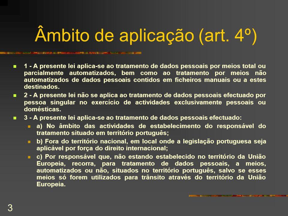 Âmbito de aplicação (art. 4º)