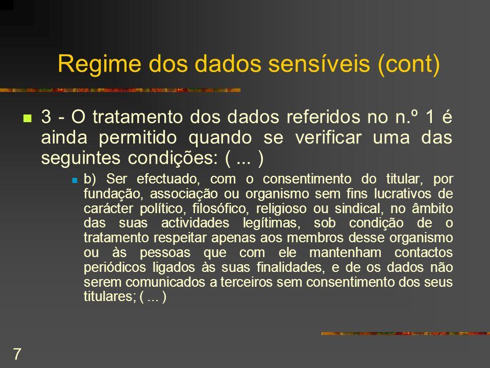 Regime dos dados sensíveis (cont)