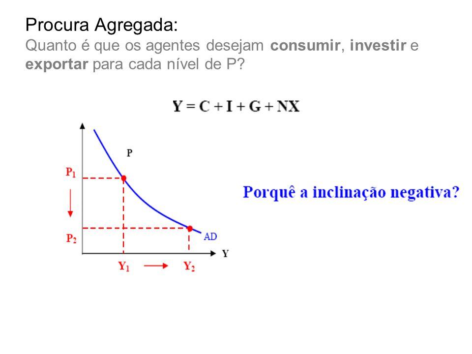 Procura Agregada: Quanto é que os agentes desejam consumir, investir e exportar para cada nível de P