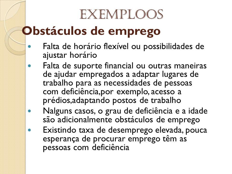 Exemploos Obstáculos de emprego