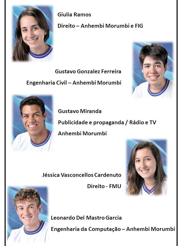 Giulia Ramos Direito – Anhembi Morumbi e FIG. Gustavo Gonzalez Ferreira. Engenharia Civil – Anhembi Morumbi.
