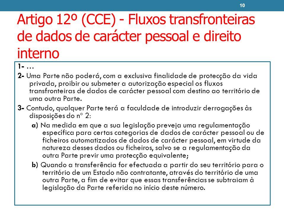 Artigo 12º (CCE) - Fluxos transfronteiras de dados de carácter pessoal e direito interno