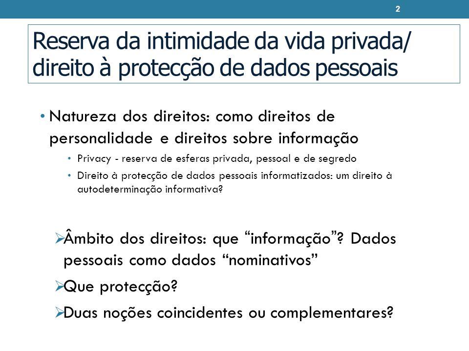 Reserva da intimidade da vida privada/ direito à protecção de dados pessoais