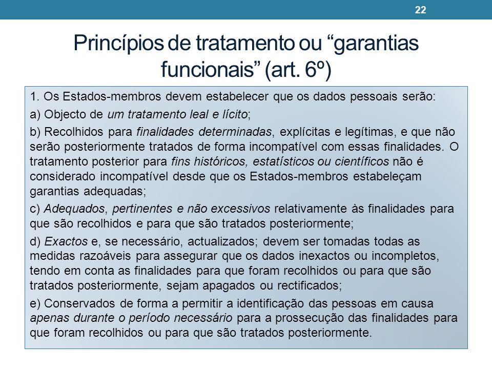 Princípios de tratamento ou garantias funcionais (art. 6º)