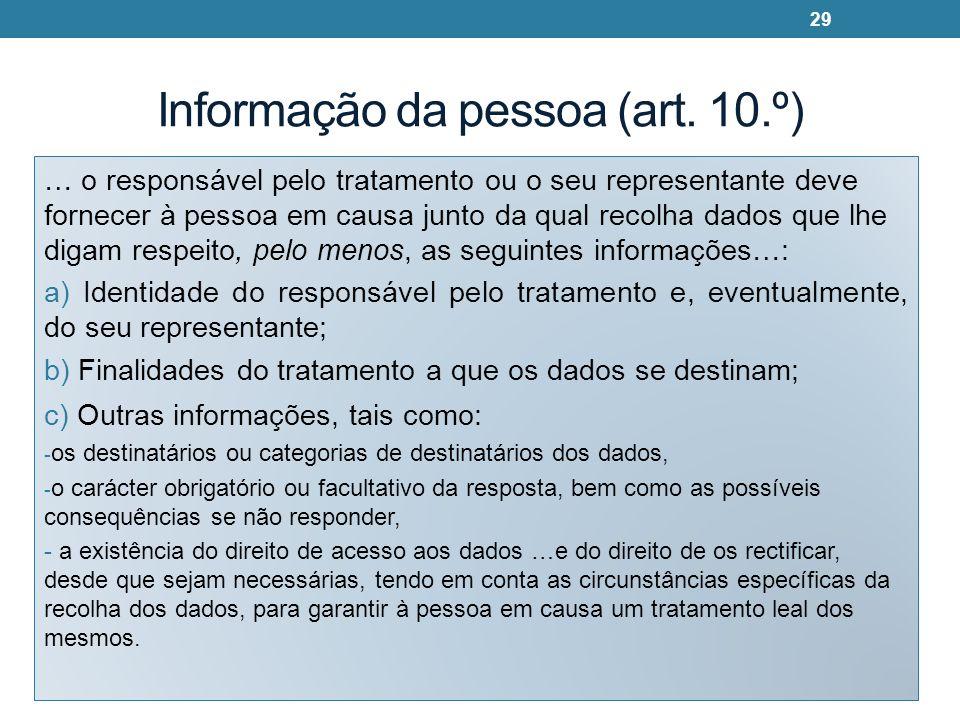 Informação da pessoa (art. 10.º)