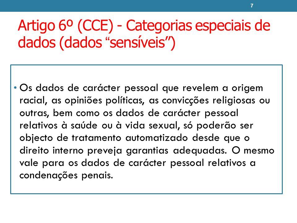 Artigo 6º (CCE) - Categorias especiais de dados (dados sensíveis )