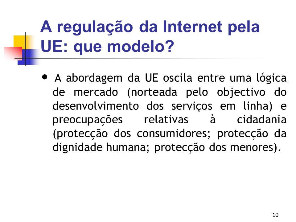 A regulação da Internet pela UE: que modelo