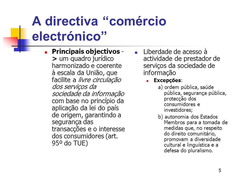 A directiva comércio electrónico
