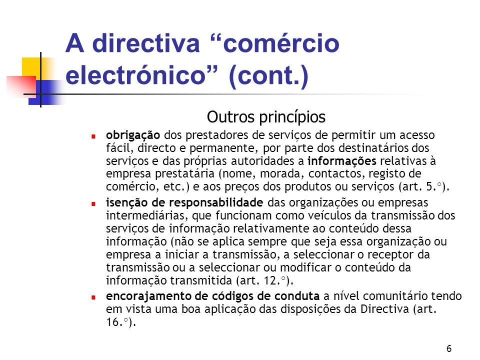 A directiva comércio electrónico (cont.)